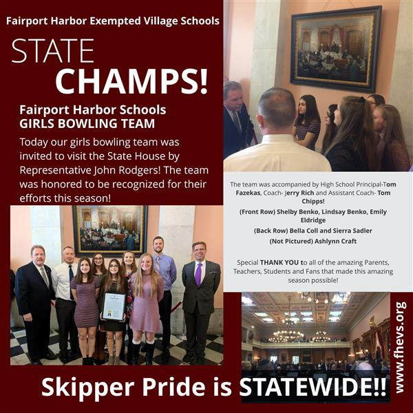 Fairport Girls Bowling Team State Champions Visit the Ohio State House - April 11, 2018