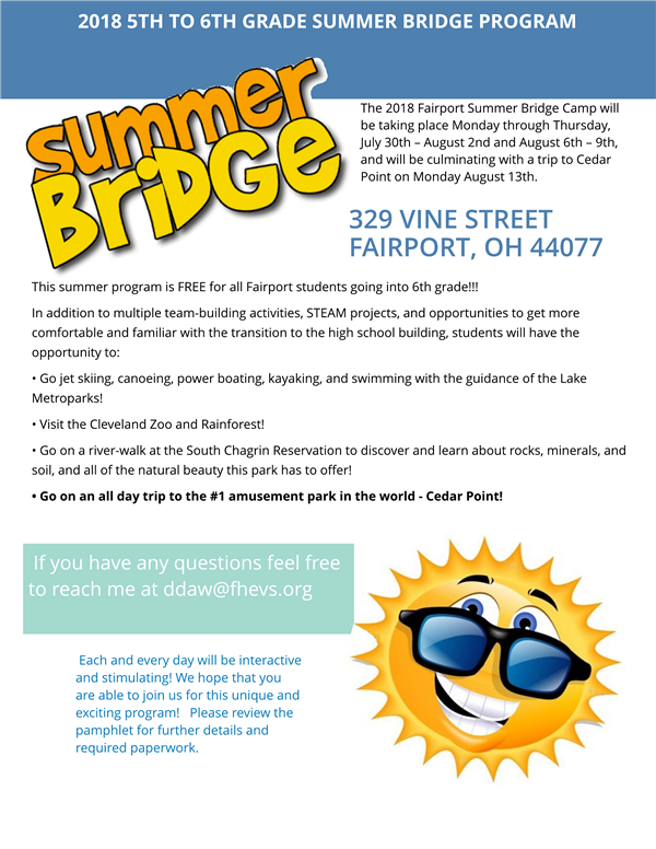 2018 5th to 6th Grade -  Summer Bridge  Program