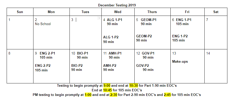 Harding Testing December 2019 End of Course Exams