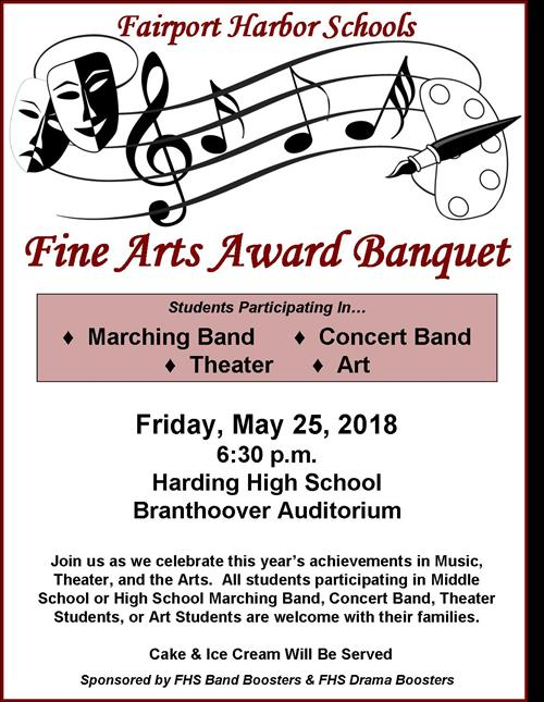 Fairport Harding High School Fine Arts Award Banquet - Friday, May 25, 2018