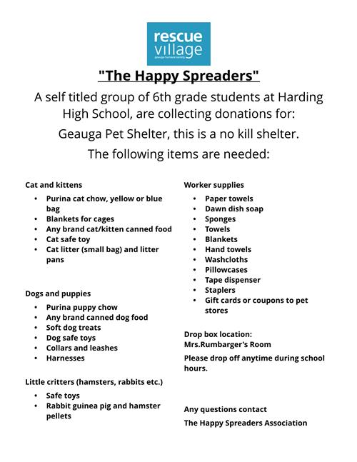 Happy Spreaders Collect for Geauga Humane Society