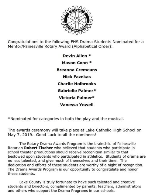 FHS Drama Students nominated for Mentor/Painesville Rotary Award 5/1/19
