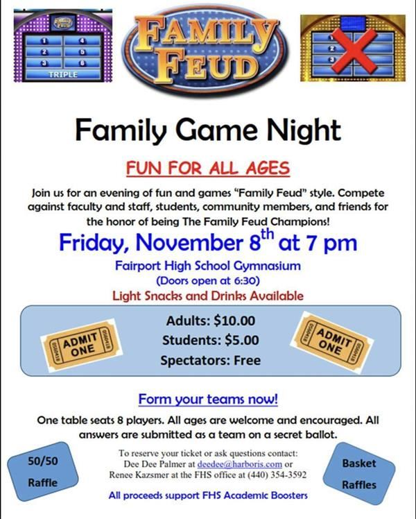 Academic Boosters Annual Family Feud  11/8/19