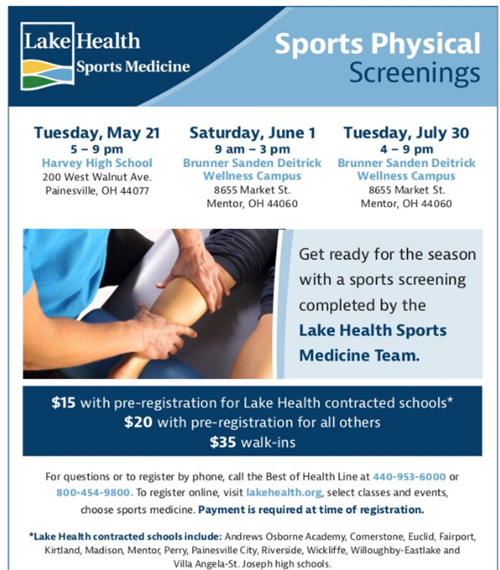 Upcoming Lake Health Sports Physicals Screenings