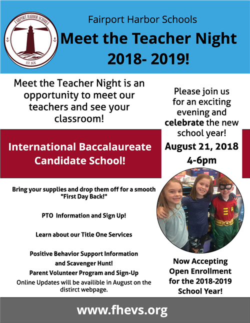MCKINLEY Meet the Teacher Night  August 21, 2018 4-6 pm