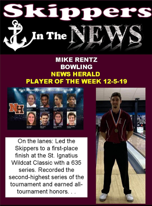 Michael Rentz- News Hearld Player of the Week 12/5/19
