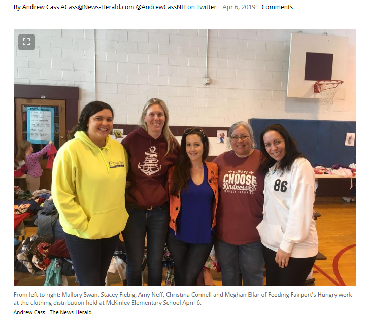 Feeding Fairport's Hungry-Clothing Drive in News-herald  4/6/19