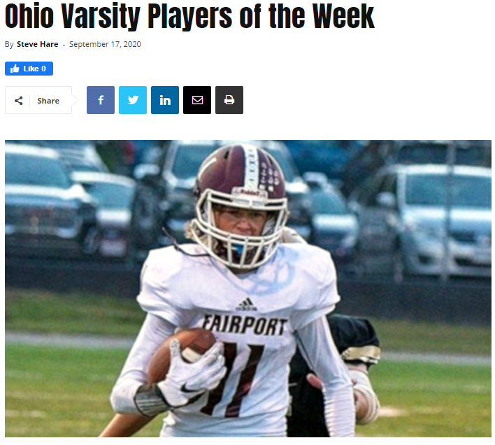 Ohio Varsity Players of the Week 9/17/20