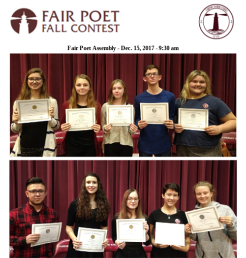 Winners from the Fall Fair Poet Contest Announced - December 15, 2017