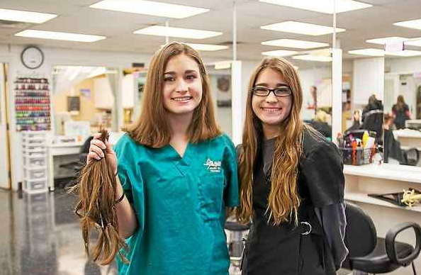 Auburn Career Center students donate hair to Wigs for Kids - March 7, 2018