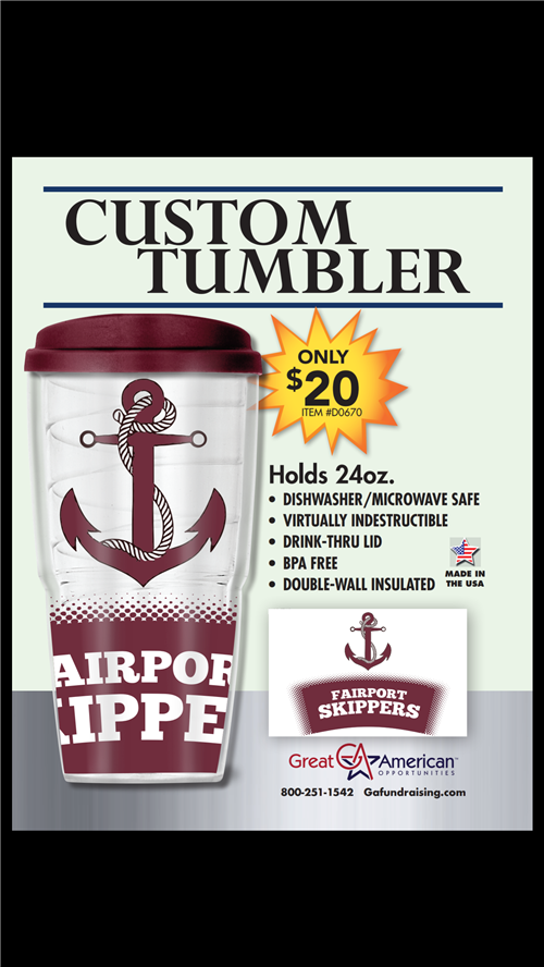 Purchase your NCAA Tumbler or Fairport Skipper Tumbler today!
