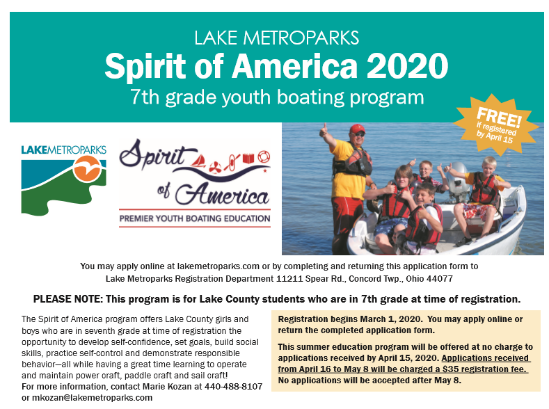 Spirit of America Program for 7th Grade Students Only 3/1 to 4/15
