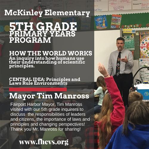 Mayor Manross Visits 5th Grade Primary Years Program