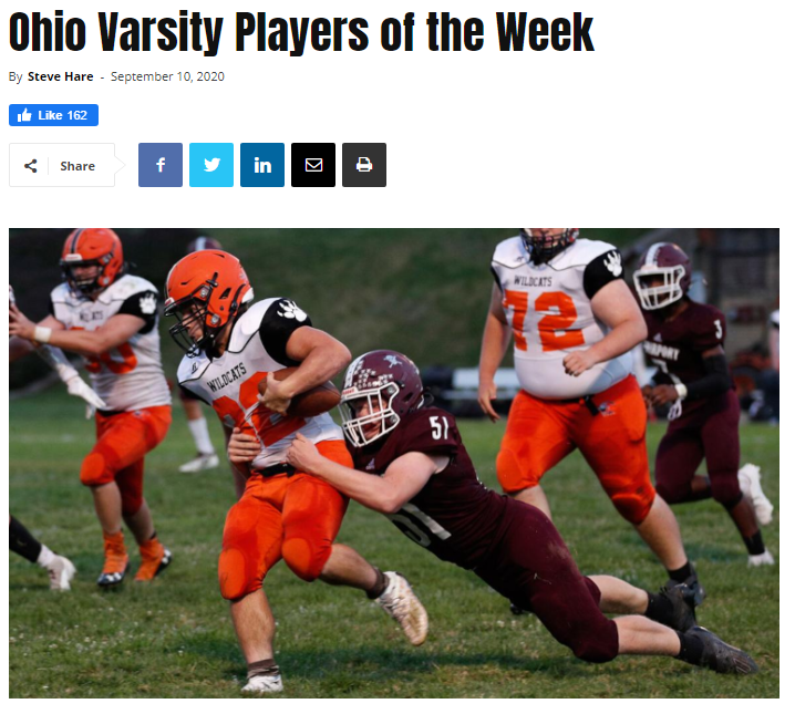 Ohio Varsity Players of the Week 9/10/2020
