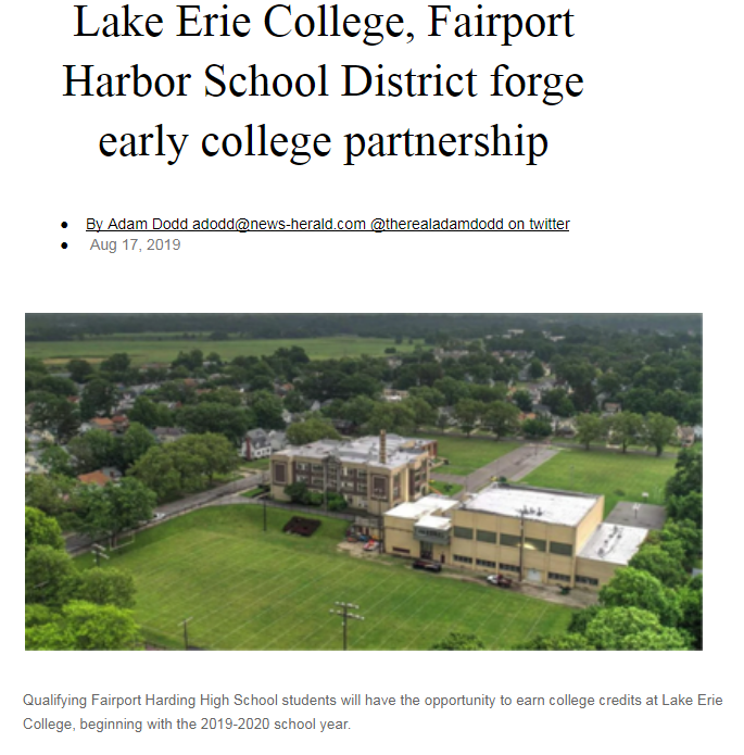 Lake Erie College, Fairport Harbor School District forge early college partnership 8/17/19 News-Herald
