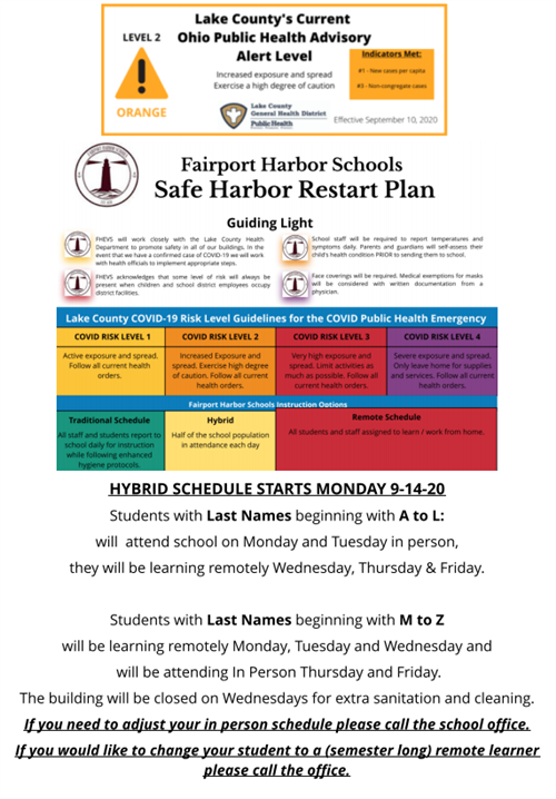 Fairport Harbor Schools Restart Plan *Updated 9/10/20*