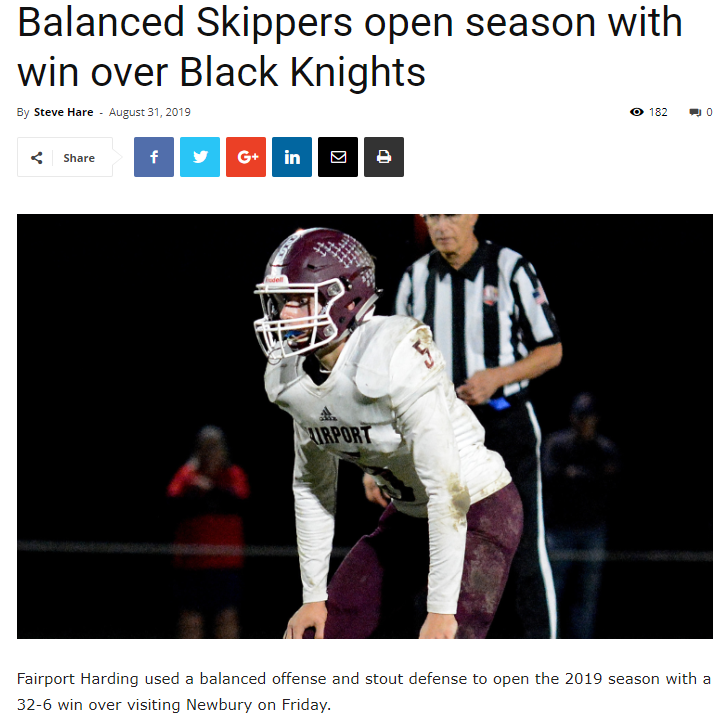 CVC Article -Balanced Skippers open season with win over Black Knights 8/30/19