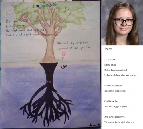 Azlyn Nelson wins 1st place in illustrated poetry contest  4/29/20